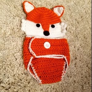 So'Dorable Knitted Fox Hat & Diaper Cover